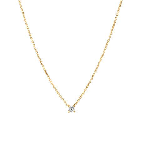 Mini Solitaire Necklace with Diamonds in 10ct Yellow Gold