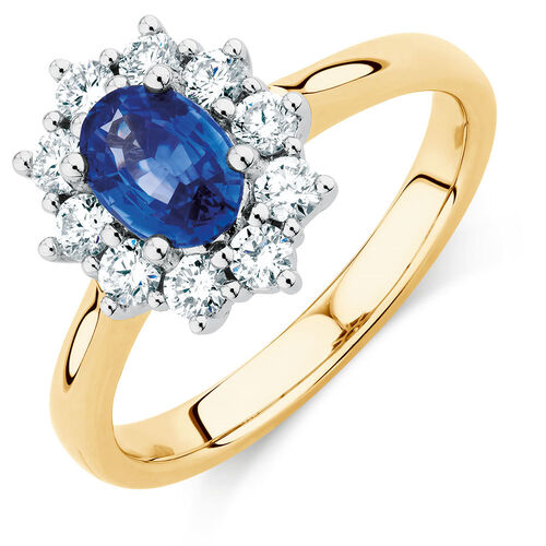 Ring with Ceylonese Sapphire & 1/2 Carat TW of Diamonds in 14ct Yellow & White Gold