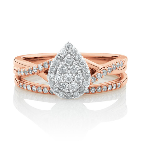 Evermore Bridal Set with 0.38 Carat TW of Diamonds in 10ct Rose & White Gold
