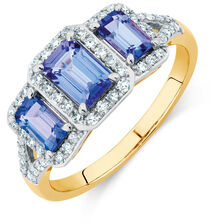 Three Stone Ring with Tanzanite & 1/4 Carat TW of Diamonds in 10ct Yellow & White Gold