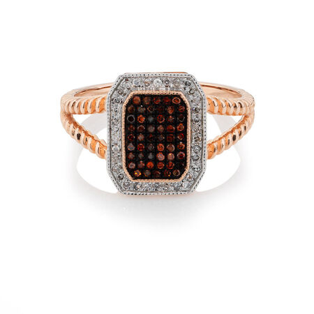 Ring with 0.23 Carat TW of White & Enhanced Red Diamonds in 10ct Rose & White Gold