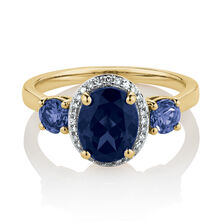 Three Stone Ring with Created Blue Sapphire & Diamonds in 10ct Yellow Gold