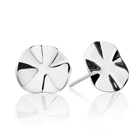 Wave Patterned Stud Earrings in Sterling Silver