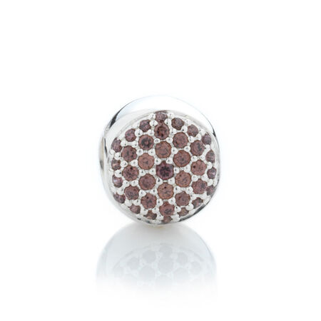 Online Exclusive - Round Pave Set Charm with Burgundy Cubic Zirconia in Sterling Silver