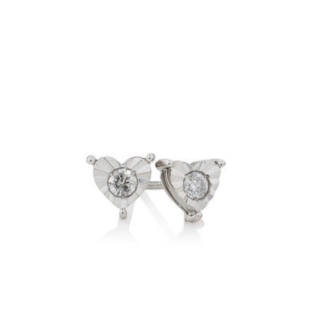 Online Exclusive - Heart Stud Earrings with 1/5 Carat TW of Diamonds in Sterling Silver