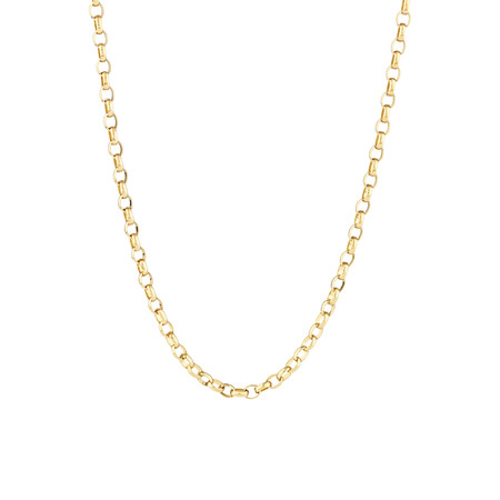 "60cm (24"") Oval Belcher Chain in 10ct Yellow Gold"
