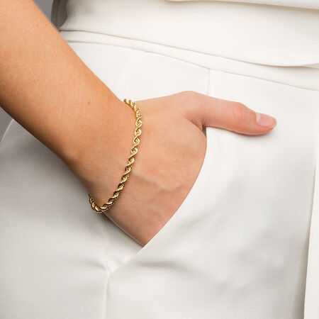 "19cm (7.5"") Rope Bracelet in 10ct Yellow Gold"