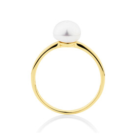 Ring with Cultured Freshwater Pearl in 10ct Yellow Gold