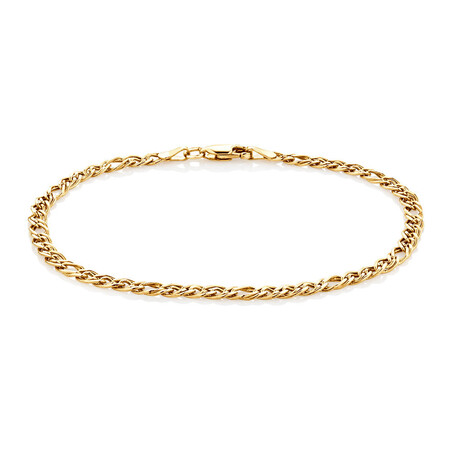 """19cm (7.5"""") Double Oval Curb Bracelet in 10ct Yellow Gold"""