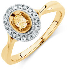 Engagement Ring with 1/3 Carat TW of White & Yellow Diamonds in 14ct Yellow & White Gold