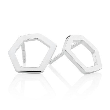 Hexagonal Stud Earrings in Sterling Silver