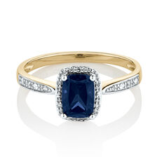 Ring with Created Blue Sapphire & Diamonds in 10ct Yellow & White Gold