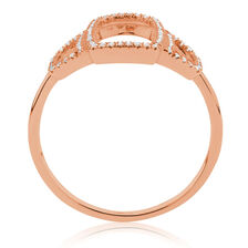 Geometric Ring with Diamonds in 10ct Rose Gold