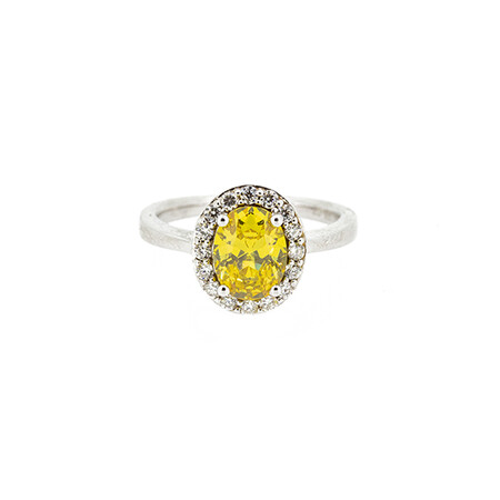 Halo Ring with Yellow and White Cubic Zirconia in Sterling Silver