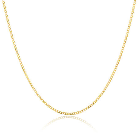 """80cm (32"""") Hollow Curb Chain in 10ct Yellow Gold"""