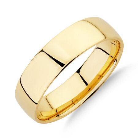 Half Round Wedding Band in 10ct Yellow Gold