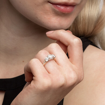 Three Stone Engagement Ring with 2 Carat TW of Diamonds in 14ct Yellow & White Gold