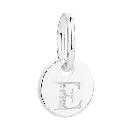 """""""E"""" Initial Mini Pendant in Sterling Silver"""