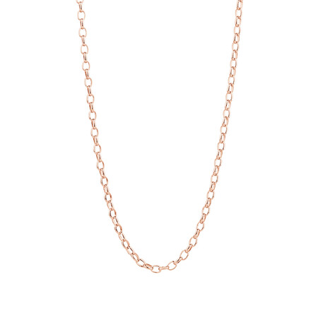 "60cm (24"") Hollow Oval Belcher Chain in 10ct Rose Gold"