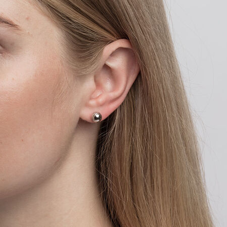7mm Patterned Stud Earrings in 10ct White Gold