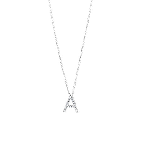 A' Initial necklace with 0.10 Carat TW of Diamonds in 10ct White Gold