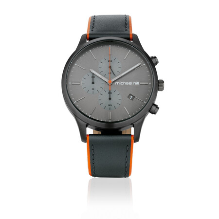 Men's Chronograph Watch in Grey Tone Stainless Steel & Leather