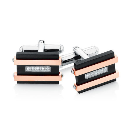 Men's Cuff Links with Cubic Zirconia in Black PVD & Rose Plated Stainless Steel