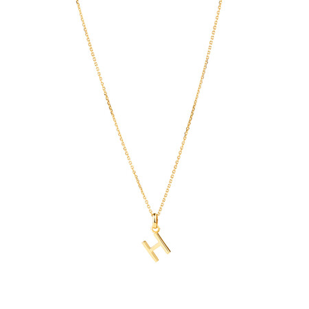 """""""H"""" Initial Pendant with Chain in 10ct Yellow Gold"""