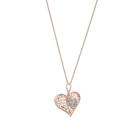 Heart Leaf Pendant with Diamond in 10ct Rose Gold