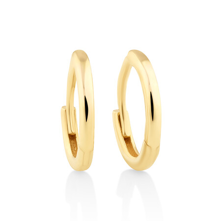 8mm Polished Huggies In 10ct Yellow Gold