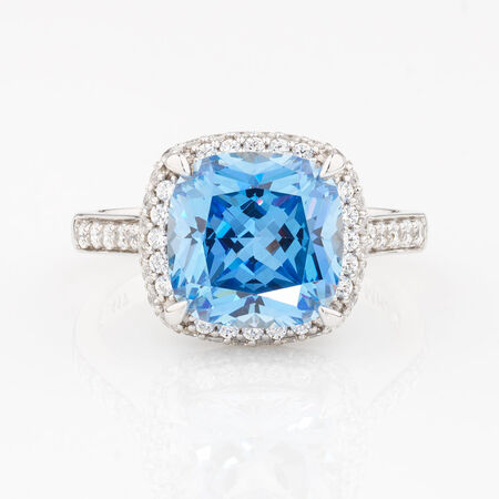 Online Exclusive - Ring with Blue & White Cubic Zirconia in 10ct White Gold