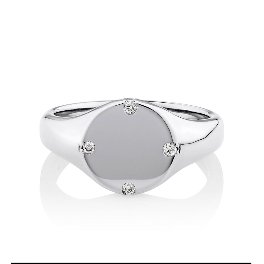 Compass Ring with Diamonds in Sterling Silver