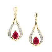 Drop Earrings with Created Ruby & Diamonds in 10ct Yellow Gold