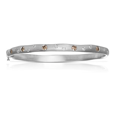 Bangle with 0.90 Carat TW of White & Brown Diamonds in 14ct White Gold