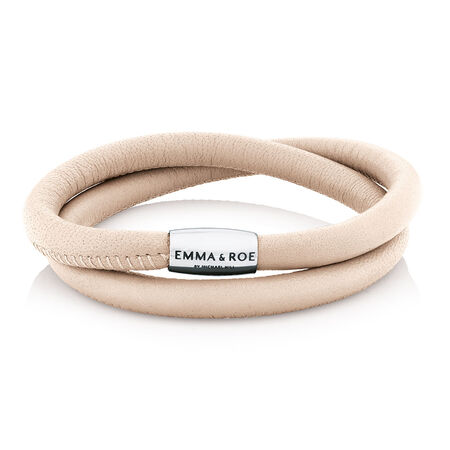 "Cream Leather 38cm (15"") Wild Hearts Double Wrap Bracelet"