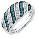 Online Exclusive - Ring with 0.38 Carat TW of White &  Enhanced Blue Diamonds in Sterling Silver