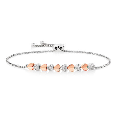 Online Exclusive - Adjustable Bracelet with 1/5 Carat TW Diamonds in 10ct Rose Gold & Sterling Silver