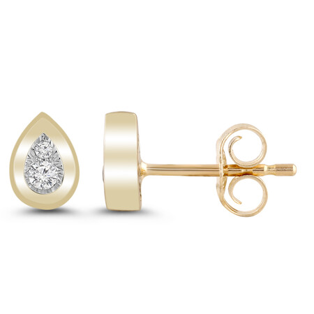 Pear Cluster Stud Earrings with Diamonds in 10ct Yellow Gold