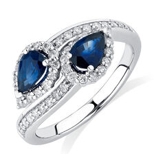 By My Side Ring with 0.16 Carat TW of Diamonds & Sapphire in 10ct White Gold