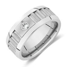 Diamond Ring in White Tungsten