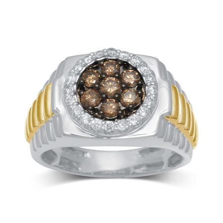 Ring with 1.00 Carat TW of Champagne and White Diamonds in 10ct Yellow and White Gold