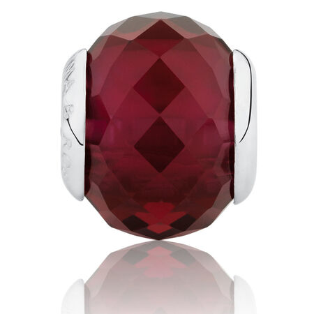 Faceted Charm with Maroon Crystal in Sterling Silver