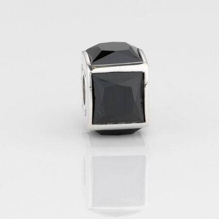 Online Exclusive - Square Charm with Black Cubic Zirconia in Sterling Silver