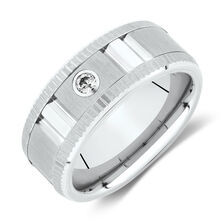 Diamond Ring in White Tungsten