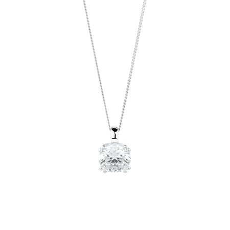 Solitaire Pendant with Cubic Zirconia in Sterling Silver