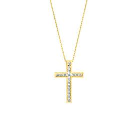 Cross Pendant With Diamonds in 10ct Yellow Gold