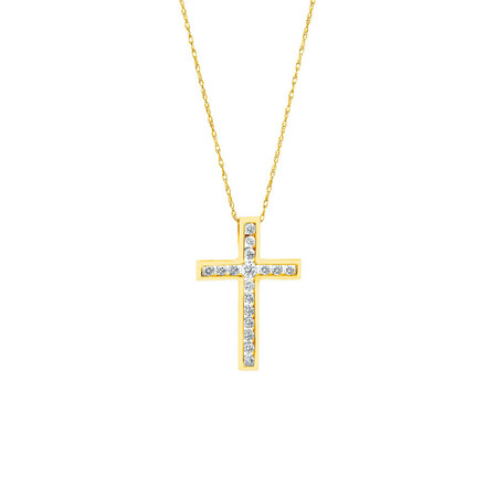 Cross Pendant With Diamonds in 10ct Yellow Gold