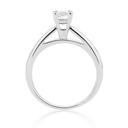 Online Exclusive - Certified Solitaire Engagement Ring with a 0.69 Carat Diamond in 14ct White Gold