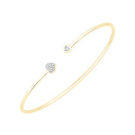 Heart Cuff Bangle with Diamonds in 10ct Yellow Gold