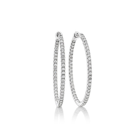 Oval Shape Hoop Earrings with 1.00ct TW of Diamonds in 10ct White Gold